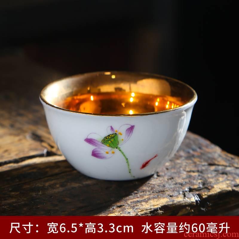Suet white jade porcelain kung fu masters cup ceramic cups little paint a single thin foetus sample tea cup tea set custom