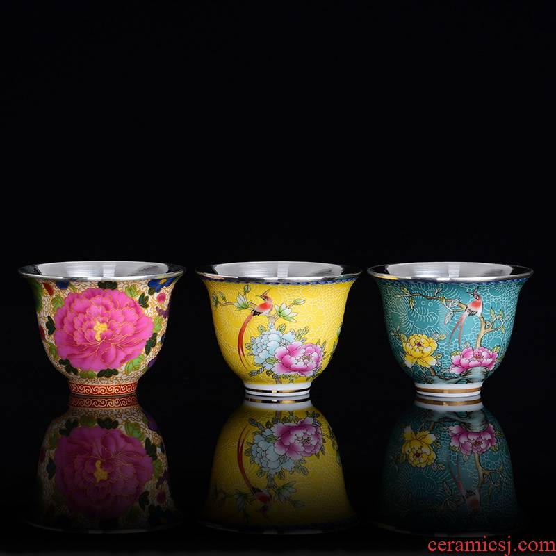Jingdezhen ceramic colored enamel tea sets manual silvering cup cup kung fu masters cup tea cups only
