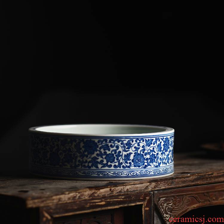 Offered home - cooked ju long up built hand - made XiCha blue tie up branch lotus water wash water writing brush washer refers to basin of jingdezhen ceramic tea set