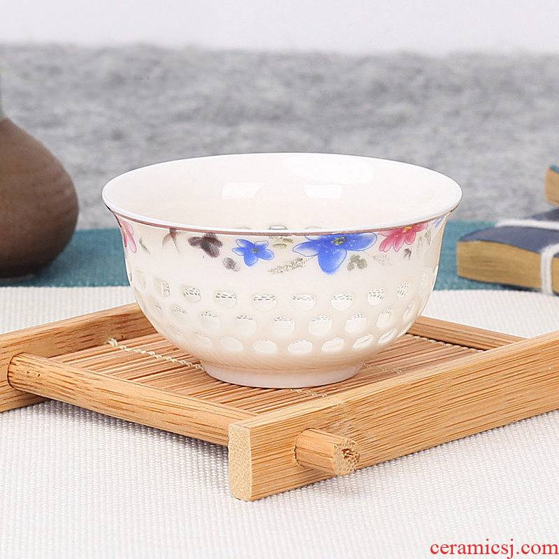 Jingdezhen ceramic kung fu small tea cup, blue and white porcelain bowl household sample tea cup violet arenaceous pure manual master CPU