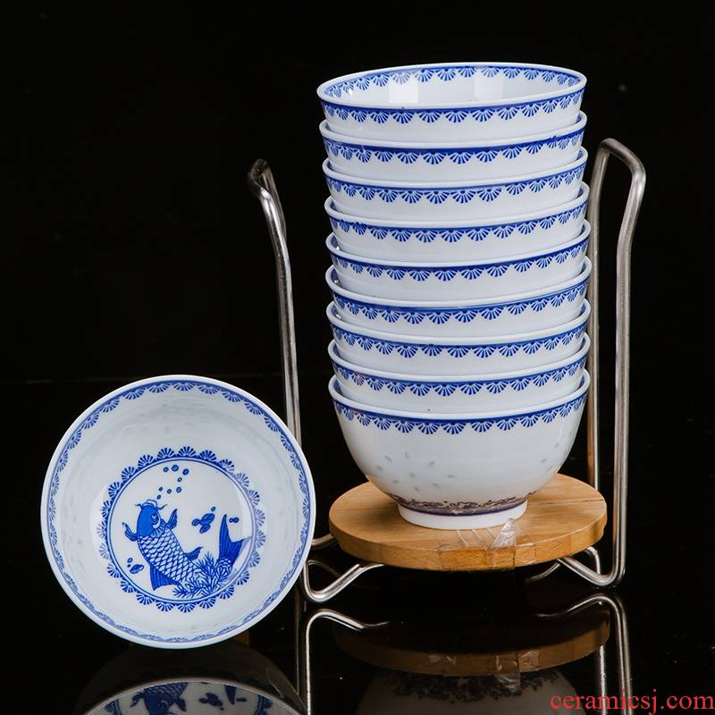 10 installed under the rice bowls bowl suit of blue and white porcelain ceramic glaze color blue and white and exquisite dishes