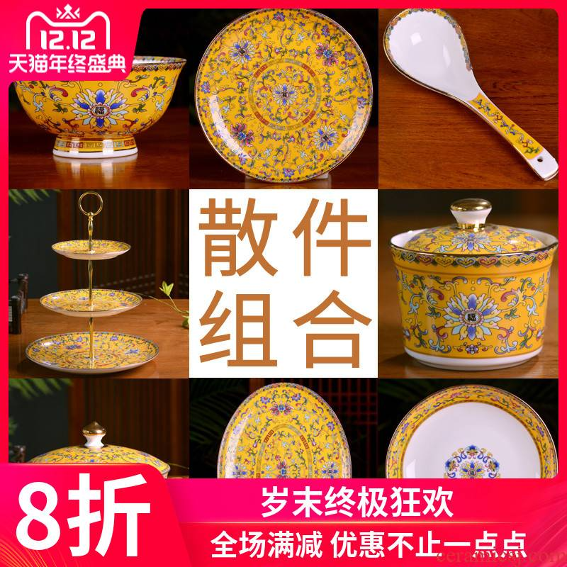 Jingdezhen ceramic bowl home dishes set tableware portfolio palace Chinese dishes custom hotel club hotel