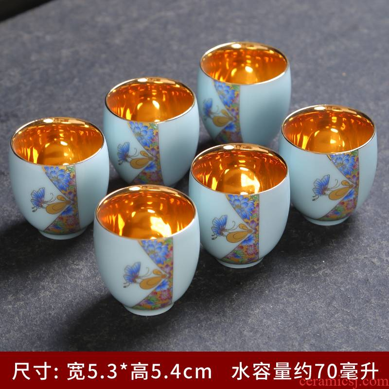Celadon kung fu tea cups Celadon hand - made paint ceramic cups tea sample tea cup single CPU master cup tea cups
