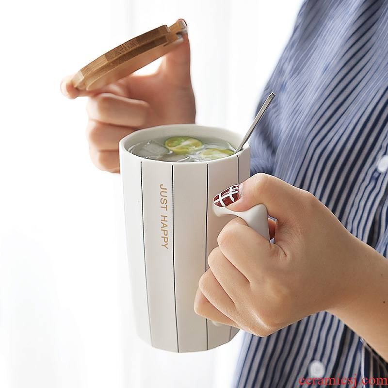Nordic ins contracted wind male cup getting creative move trend ceramic cup with cover large capacity mugs