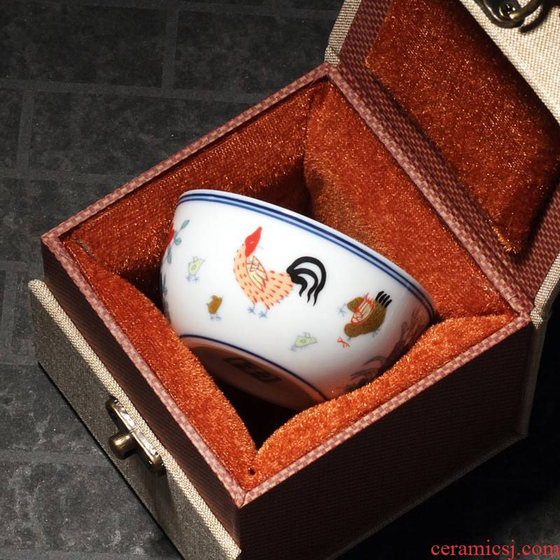 Hui shi chicken cylinder cup 280 da Ming chenghua bucket color pure manual play archaize ceramic cups tea hand - made of the master