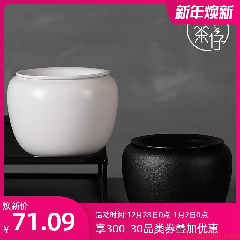 Pour in hot cylinder small ceramic coarse pottery Japanese antique water jar of black tea taking spare parts detong kung fu tea set