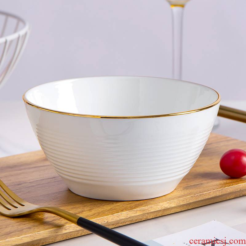 Jin Bianchun bare-bones bowls of household jobs white ceramic bowl of soup bowl with rainbow such use white bowls can use microwave oven