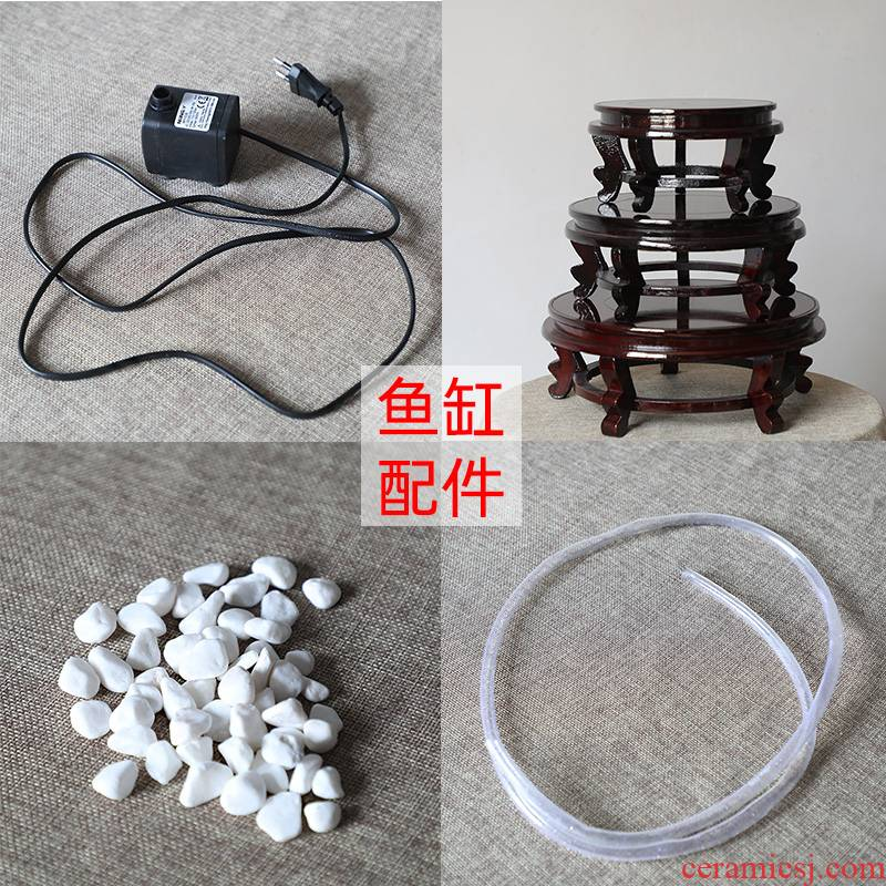 Ceramic aquarium water pump filter pipe fittings wooden base in bai maji stone is not only to sell