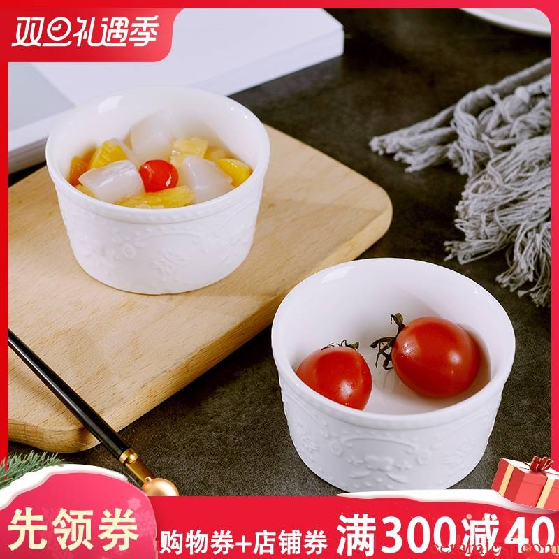 Creative ceramic pudding bowl snacks household soy sauce vinegar dip bowl bowl dishes steamed cake baking oven dessert bowls