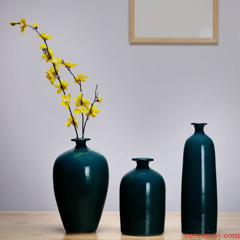 Jingdezhen ceramics vase manual sitting room porch place flower arranging the study of new Chinese style adornment three - piece suit