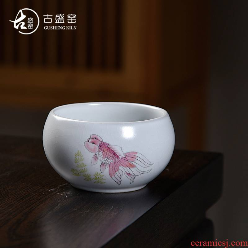 Ancient sheng up drive piece piece of your up with the open hand draw more than years master kung fu tea cup single CPU ceramic sample tea cup