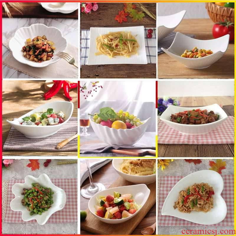 Figure dish plate household pure white ceramic plate hot cold dish plate of fruit salad rainbow such use western - style food tableware suit