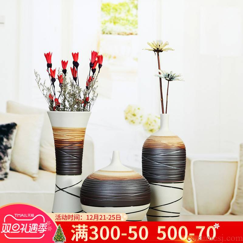 Jingdezhen ceramic simple flower implement modern furnishing articles three - piece creative living room TV cabinet home decoration vase