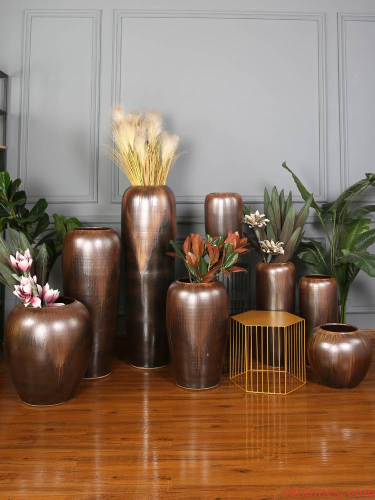 Retro POTS of jingdezhen ceramic vase of large sitting room the hotel Chinese flower arranging dried flowers porcelain furnishing articles