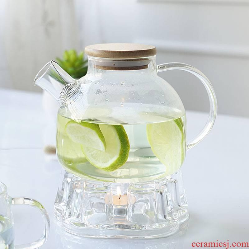 European large - capacity glass flowers teapot tea set household candles base heating filter fruit teapot