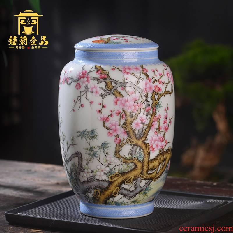 Jingdezhen ceramic hand - made pastel MeiKaiWuFu caddy fixings all hand receive tank storage POTS crafts