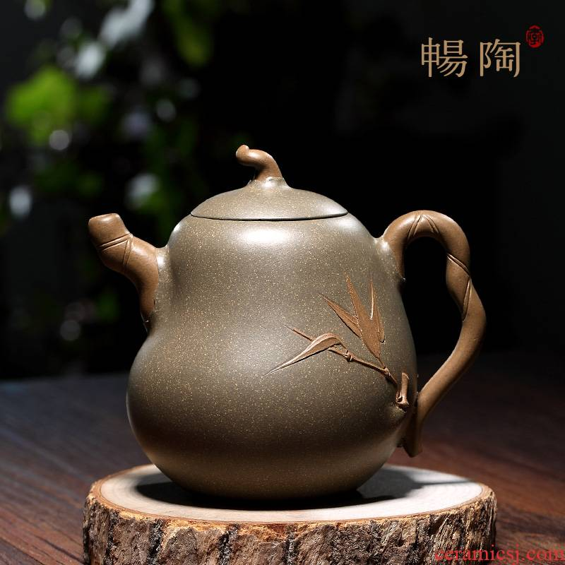 """Shadow enjoy"" yixing craftsmen TaoJianQuan manual it old green Duan Fulu bamboo pot 330 CCCT of the republic of China"