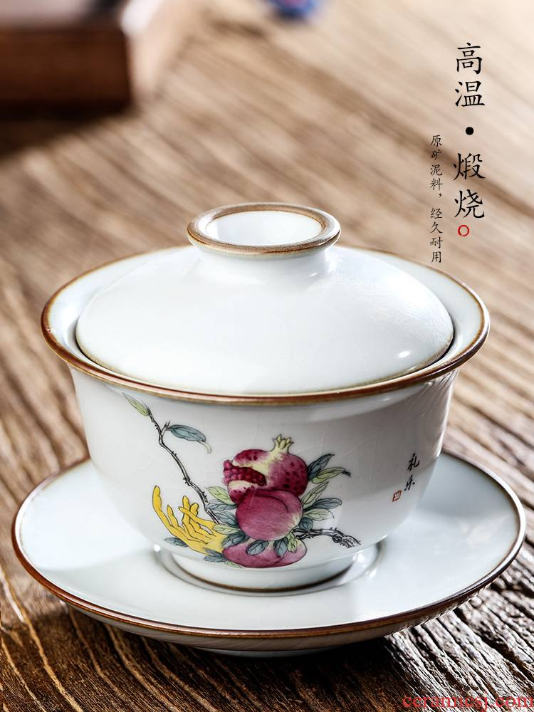 Jingdezhen your up only three tureen tea tea cups pure manual open the slice to use hand - made ceramic kung fu tea set