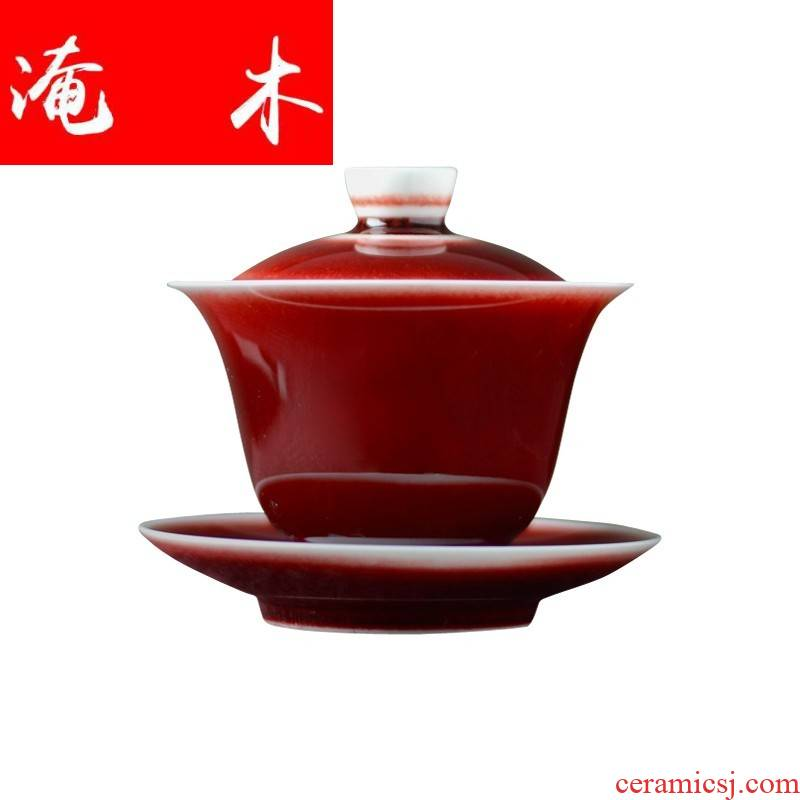 Submerged wood jingdezhen ceramic tea set ruby red glaze only three tureen all manual kung fu tea set hand tureen tea master