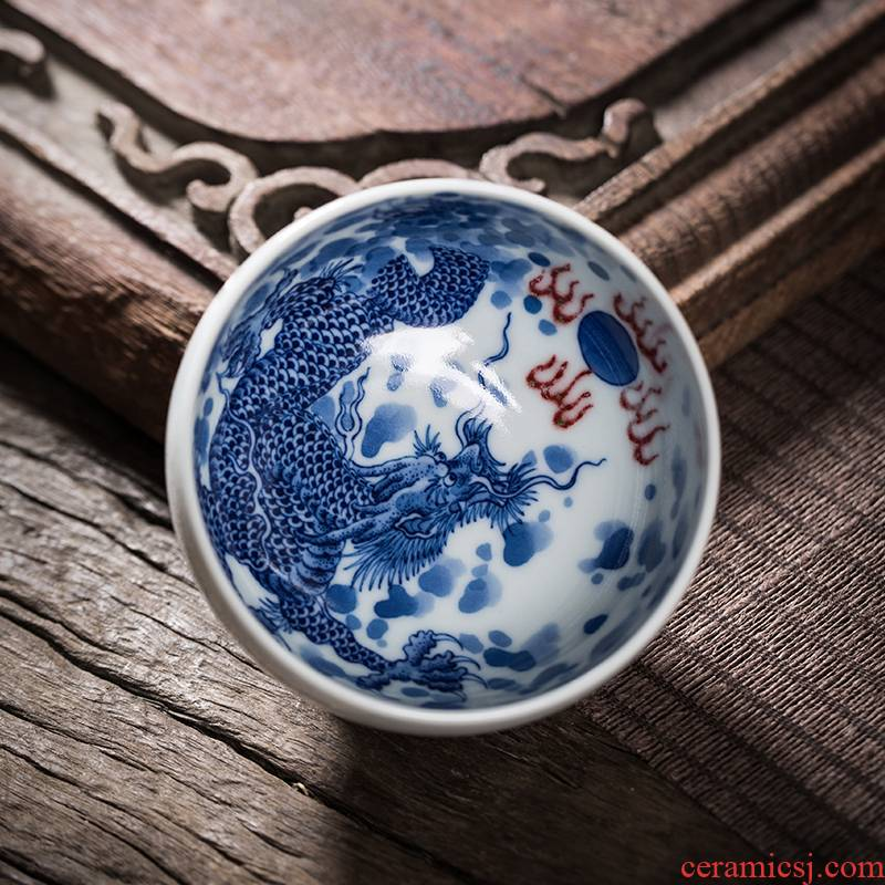 Owl up jingdezhen blue and white youligong ceramic cups kung fu tea set single cup cup draw dragon master