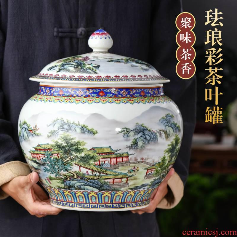 Jingdezhen tea pot enamel porcelain large sealed jar with cover puer tea cake home loose tea storage tanks