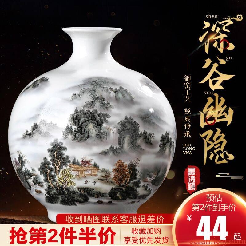 Jingdezhen ceramics flower vase furnishing articles sitting room of the new Chinese style household landscape painting pomegranate wine bottle decoration
