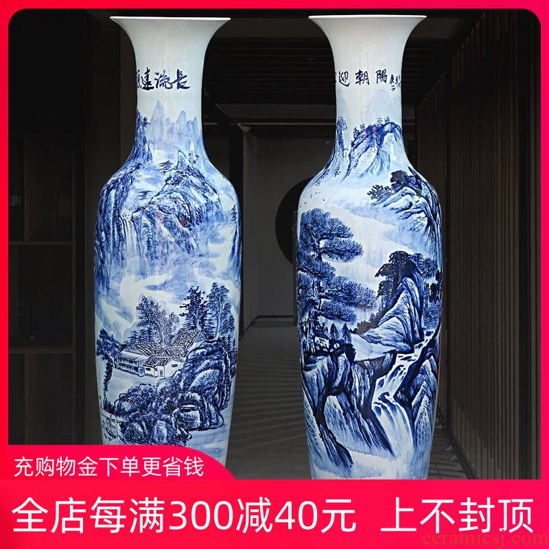 Jingdezhen ceramic of large blue and white landscape sitting room place of blue and white porcelain vase archaize hotel decoration