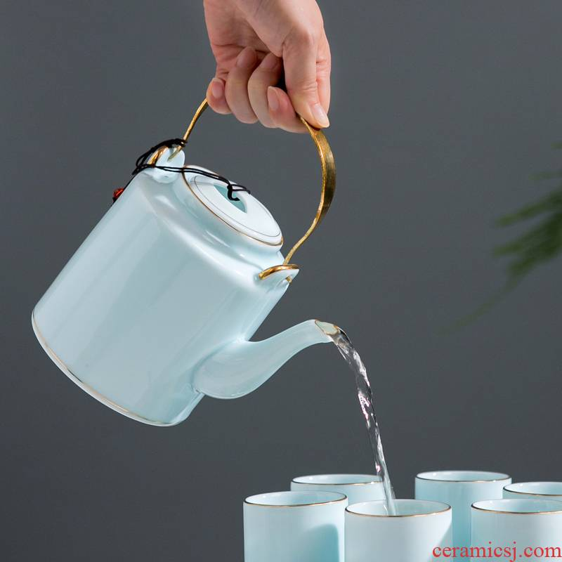 Jingdezhen ceramic teapot large - sized cold water girder pot of contracted celadon tea set household water separation teapot