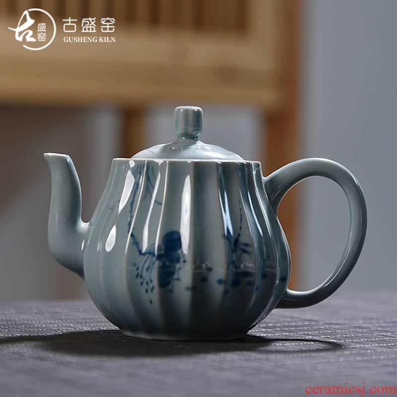 Ancient sheng hand - made porcelain up ceramics kung fu tea set manual tea single pot of pu - erh tea tea kettle with tea