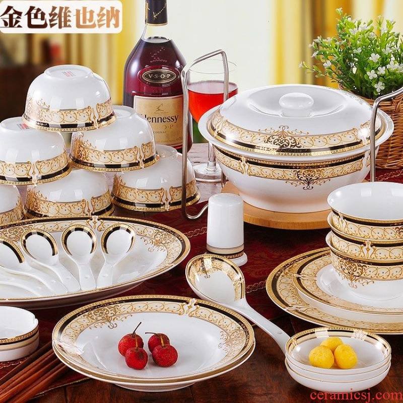 Authentic jingdezhen ceramics ipads bowls plates household contracted Nordic 56 head cutlery set gift box