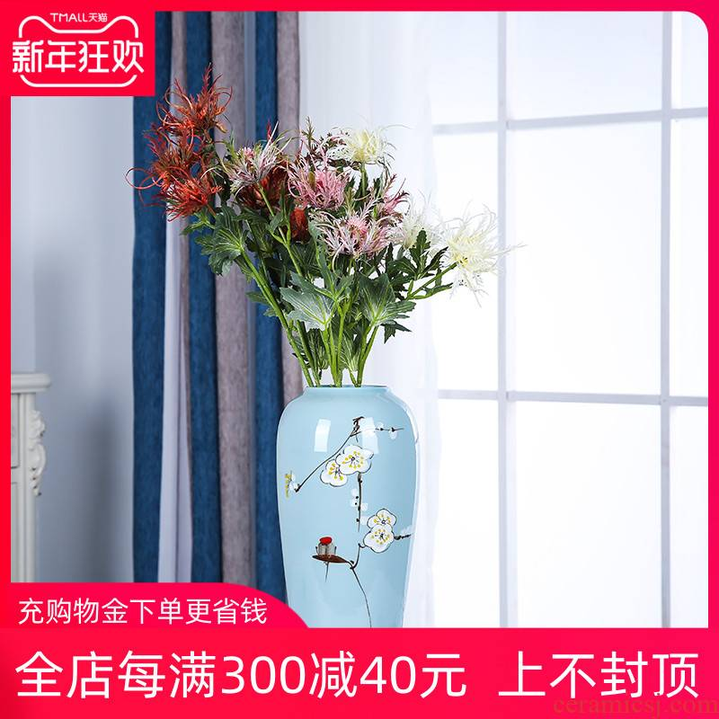 Jingdezhen ceramics three - piece flower vase of new Chinese style household, sitting room ark, flower arranging, adornment is placed
