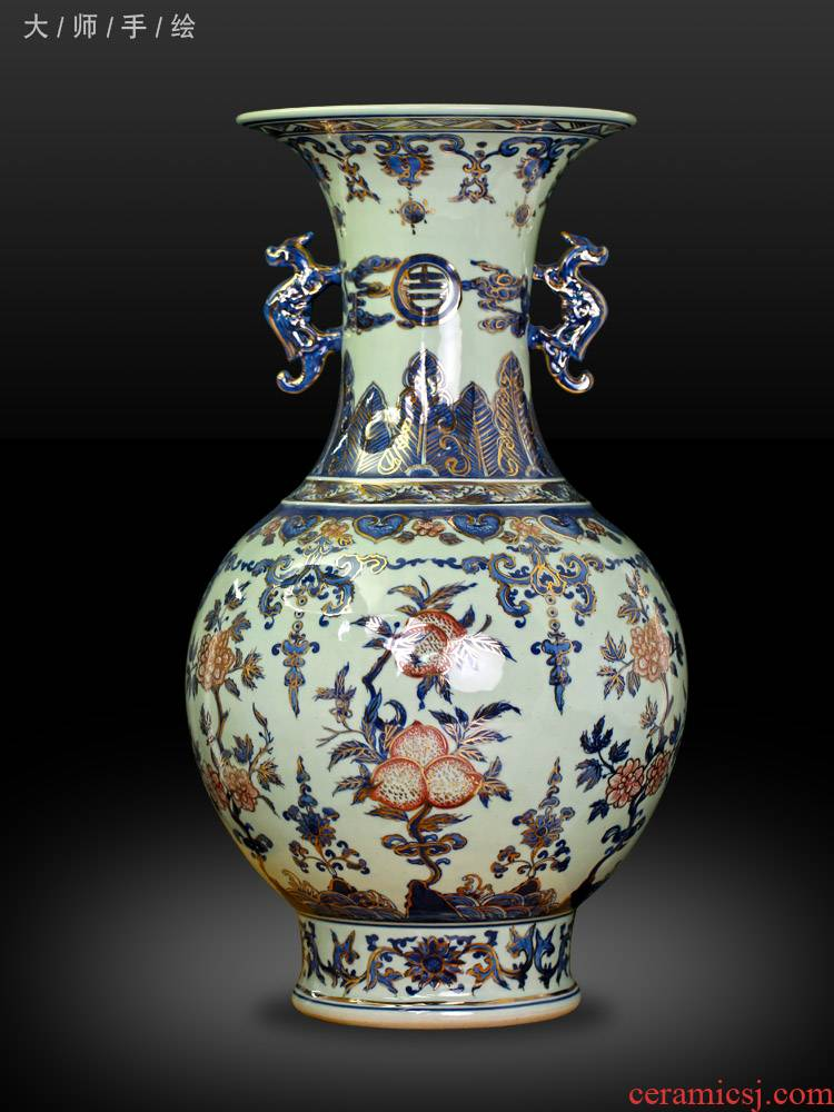 Jingdezhen chinaware paint ears antique blue and white porcelain vase flower arranging new sitting room of Chinese style household act the role ofing is tasted furnishing articles