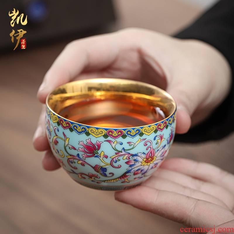 Colored enamel gold cup creative master of jingdezhen ceramic sample tea cup cup single CPU kung fu tea tea bowl