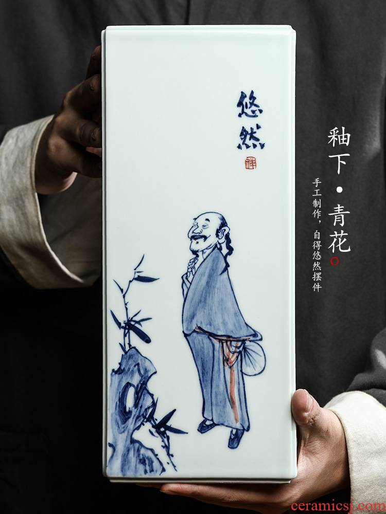 Ken shun KeChun manual furnishing articles of jingdezhen blue and white ceramics is increasing in the vase with hand - drawn characters tea accessories restoring ancient ways