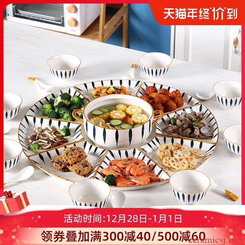 The dishes suit household creative move ceramic dish family reunion party chafing dish platter plate suit