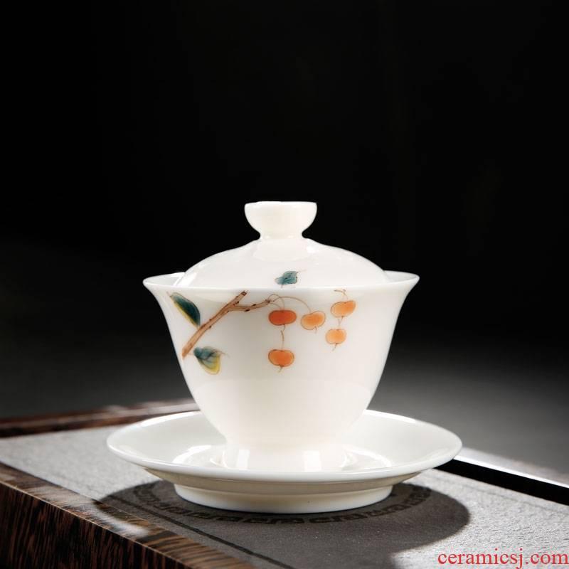 Hand - made teacup kunfu tea cup a single master cup of dehua white porcelain tea set three tureen suet white jade