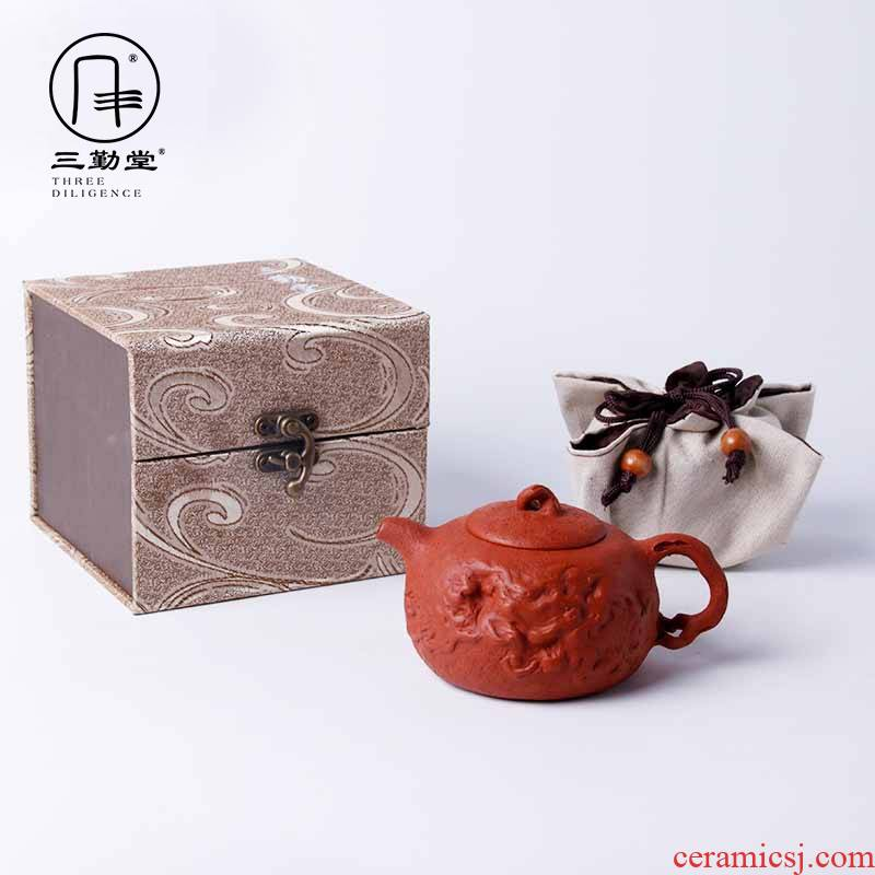 Three frequently make tea hall are it manual kung fu tea set little teapot undressed ore mud for zhu spring pot of yixing masters