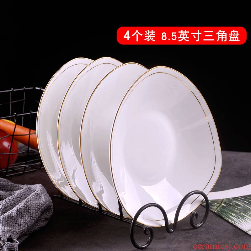 Jingdezhen ceramic plate hand gold 】 【 4 suit creative household Nordic dishes food dish