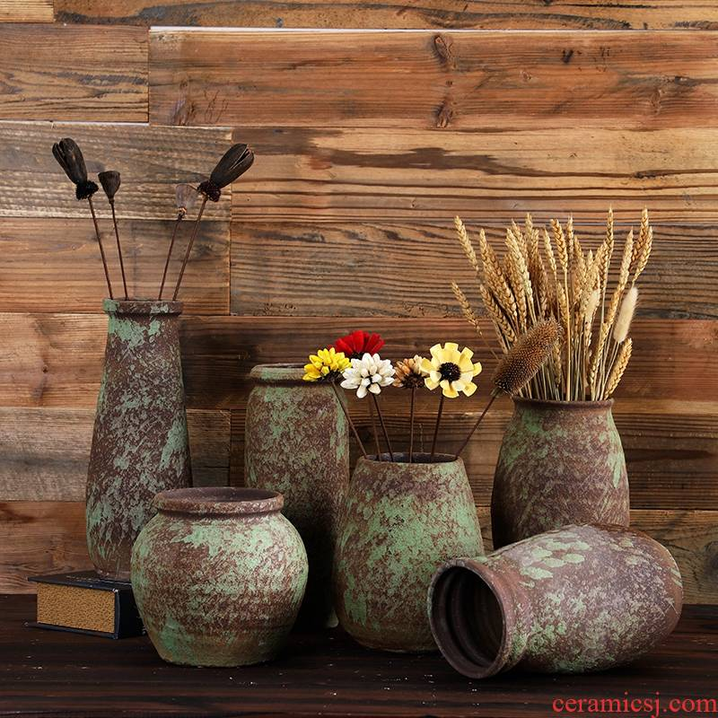 Jingdezhen manual coarse clay pottery flower POTS dry flower vase sitting room furniture restoring ancient ways hydroponic flower implement creative furnishing articles