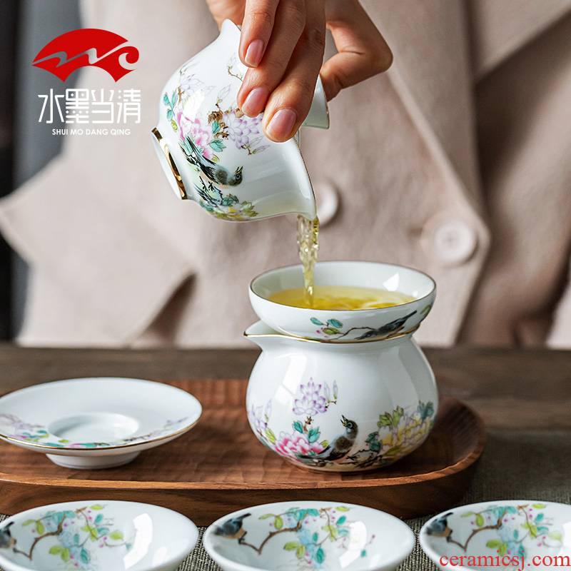 Jingdezhen porcelain tea set thin foetus up phnom penh household ceramic tea tureen kung fu tea cups office receives a visitor