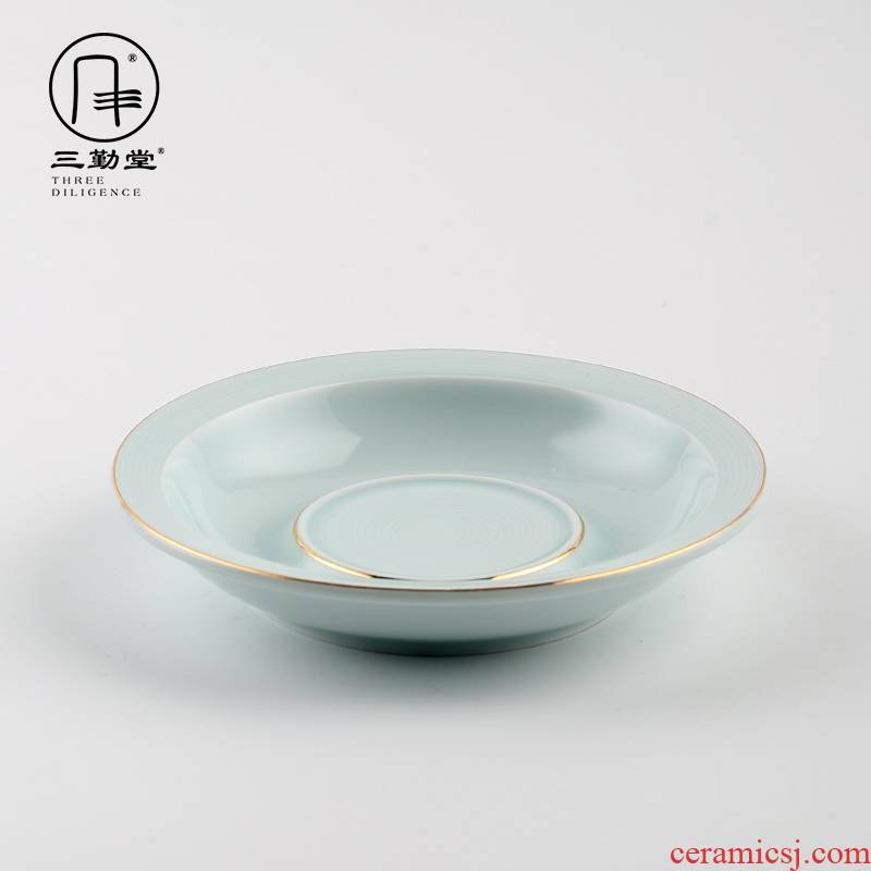 The three frequently do make a pot of bearing jingdezhen ceramic plate shadow green sweet round small craft kung fu tea S72013