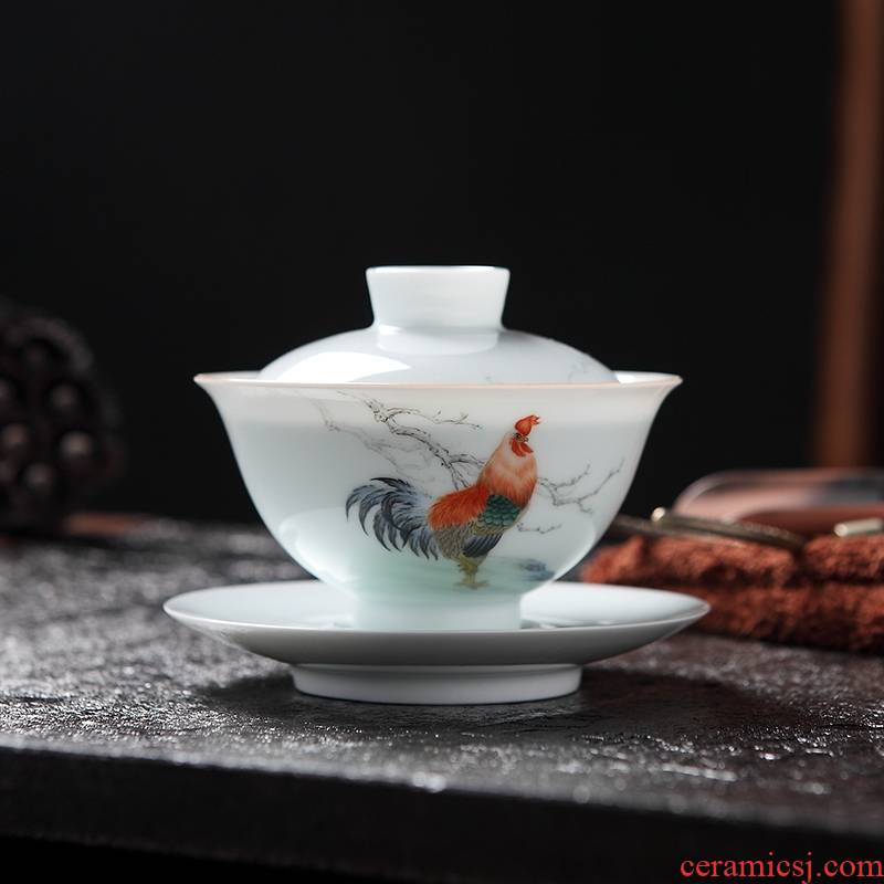 Qiao mu tureen ceramics jingdezhen porcelain hand - made kung fu tea bowl checking ceramic large three only