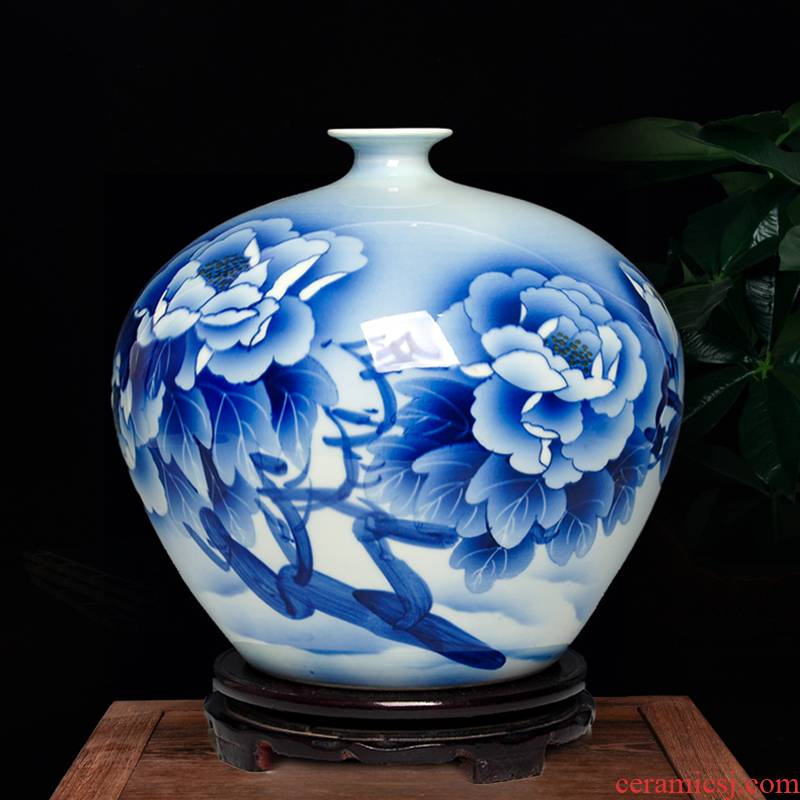 Jingdezhen ceramics hand - made vases, new Chinese style home sitting room porch rich ancient frame TV ark adornment furnishing articles
