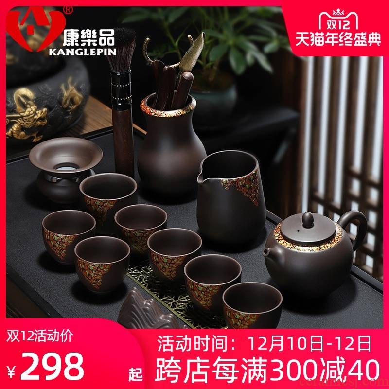 Recreational product creative Chinese lacquer ceramic tea set creative household purple sand tea set a complete set of kung fu can customize LOGO