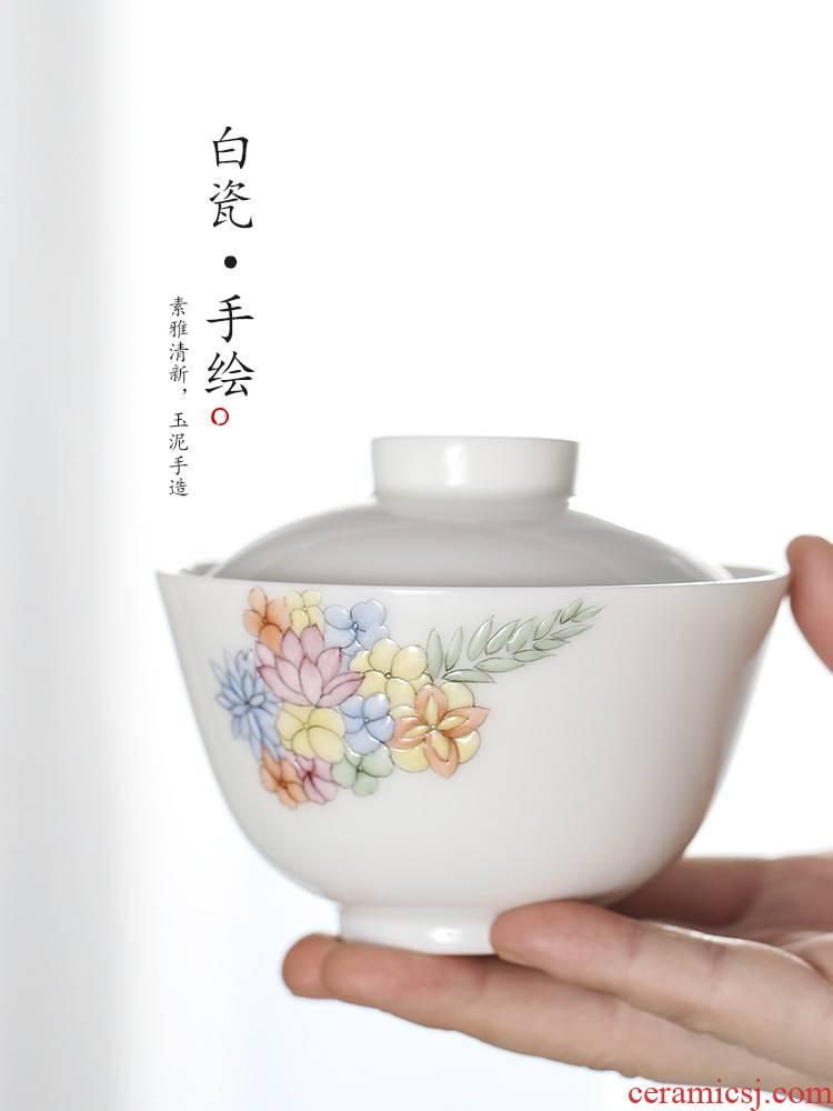 Kombucha tea tureen single anti hot large jingdezhen pure manual white porcelain tea bowl hand - made orchids ceramic tea set