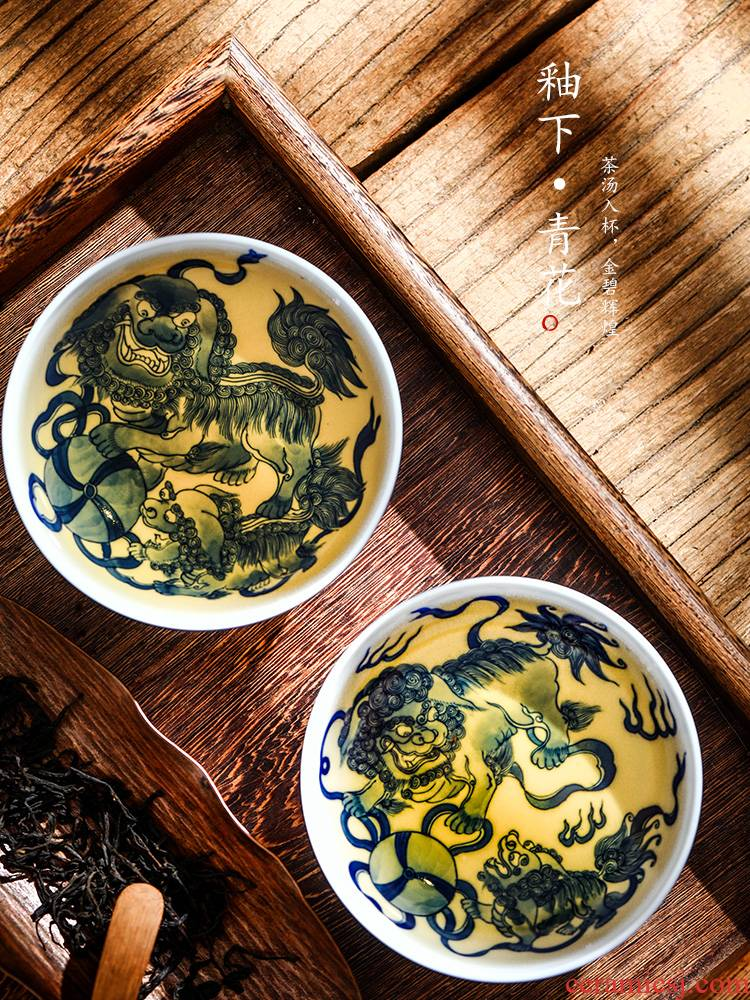 Jingdezhen checking blue and white kung fu master cup single CPU hand - made teacup large ji blue ceramic tea cups of tea
