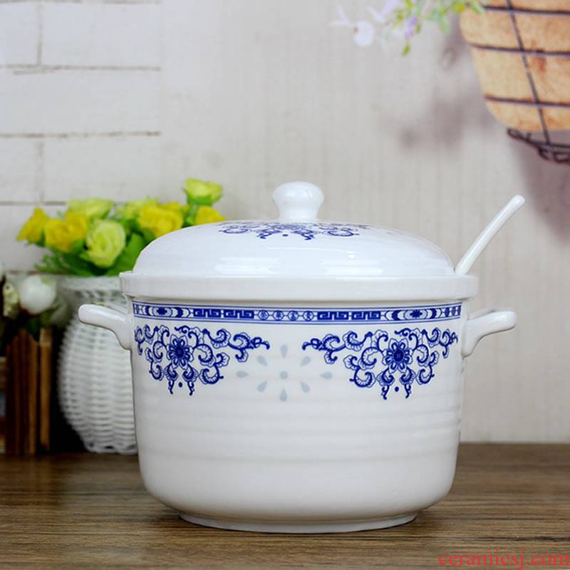 Ceramic household with cover the pot seasoning salt pot cylinder chili oil tank oil can large - capacity single hold to high temperature