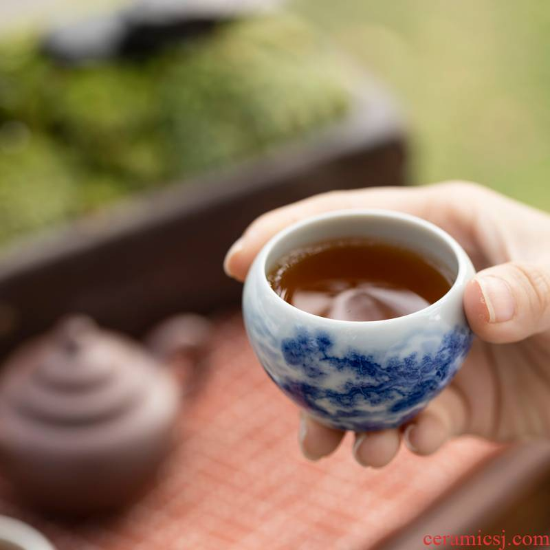 Royal maple hall Lin Yin hand - made wind character canister cup of jingdezhen ceramic kung fu tea cup a single master