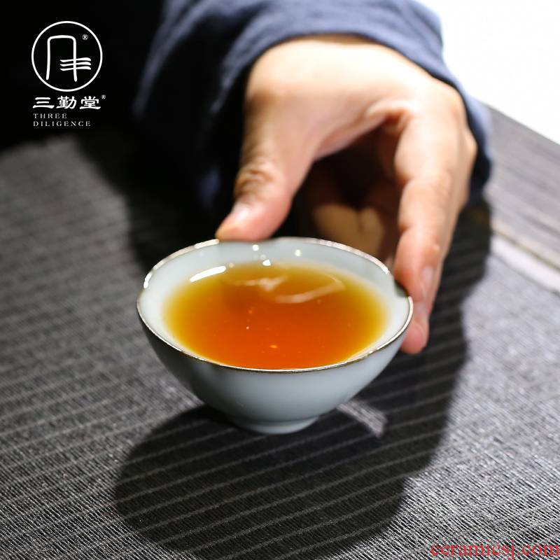 Three frequently hall official up glaze master cup of jingdezhen ceramic kung fu tea set single CPU personal puer tea cup sample tea cup