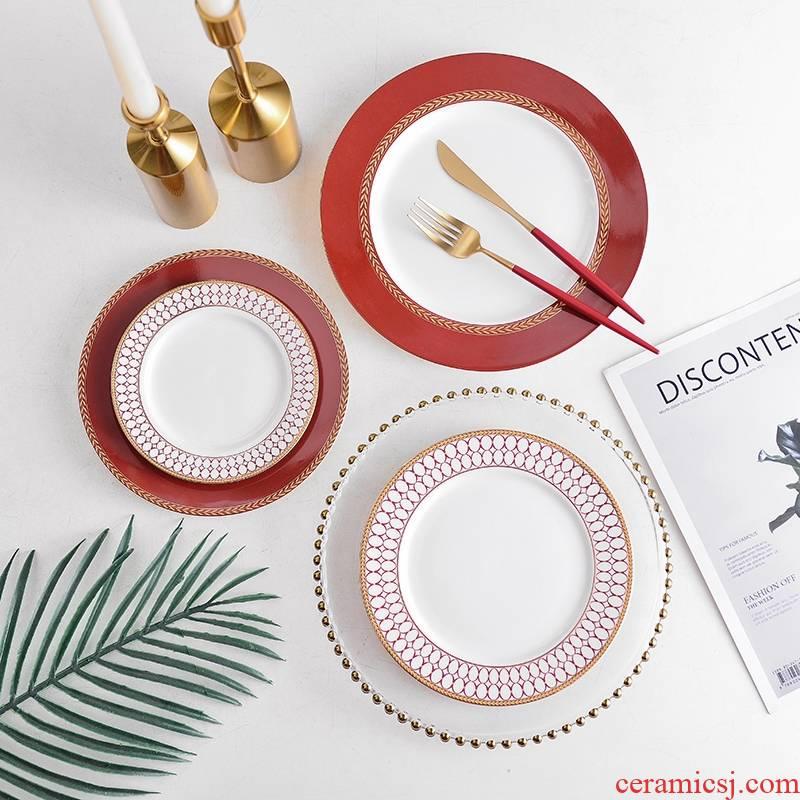 Continental red up phnom penh steak plate household ceramic tableware tableware dinner plate suit light key-2 luxury banquet dessert plate